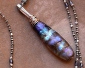 Extra Long Handmade Glass Basha Bead Pendant + OOAK Focal Bead + Iridescent Blue Violet Aqua + Long Beaded Necklace + Antique Silver Beads