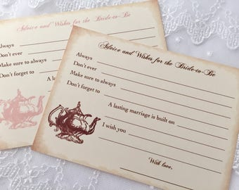 Bridal Shower Game Cards, Tea Party Activity Cards, Tea Party Advice Cards, Set of 10