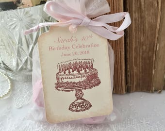 Birthday Favor Bags, Happy Birthday Favor Bags for Her, Set of 10, 30th Birthday, 40th Birthday, 50th Birthday