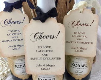 Wedding Champagne Tags, Wedding Wine Tags, Wedding Cheers Tags, Wedding Champagne Labels, Set of 10