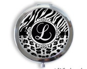 Personalized Initial Animal Print Compact Mirror, Pocket Mirror, purse mirror, Keepsake Memento Gift Bridal Mother's Day, gift for her