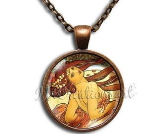 25% OFF - Mucha Art Dancer Glass Dome Pendant or with Chain Link Necklace - AP112