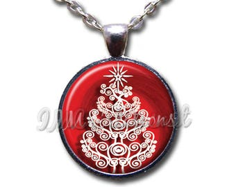 Swirly Christmas Tree Glass Dome Pendant or with Chain Link Necklace HD194