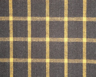 Black And Mustard Woven Window Pane Plaid Homespun Fabric | Sewing Fabric | Cotton Rag Quilt Fabric | Primitive Fabric | Doll Making Fabric