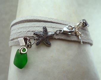 Sea Glass Wrap Bracelet -Green Seaglass -White Suede Cord Beach Glass with Starfish Charm