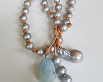 Grey Freshwater Pearls Leather Knotted and Amazonite Necklace