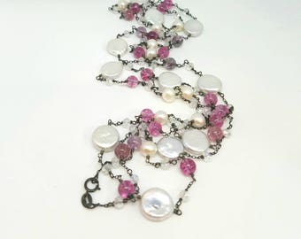 Pink Tourmaline, Coin Pearls, Crystal Oxidized Sterling Silver Necklace Long Layer
