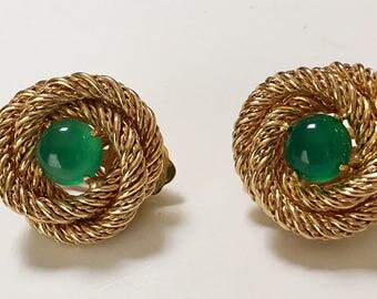 Gold Tone Coiled Twist Clip Earrings Green Stone Vintage