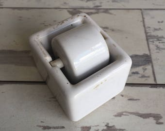Vintage Porcelain Stamp Licker Wetter Moistener Glue Activation Wheel Roll - K T Rogers