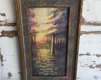 Antique Watercolor Painting Framed in a Wood Frame under Glass - Signed W W