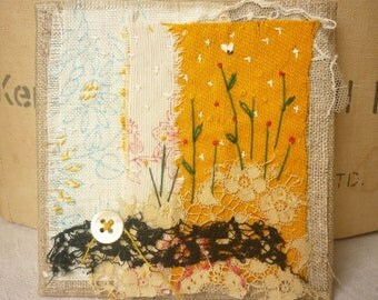ARTWORK textile ORIGINAL : Vintage fabrics with hand embroidery - In My Garden