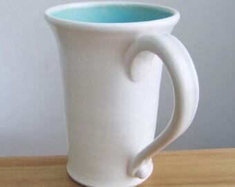 Tall Mug, Beer Stein, Large Coffee Mug in Turquoise Blue 16 oz. Handmade Stoneware Ceramic Mug, Wheel Thrown Pottery