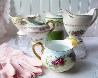 Vintage Mismatched Floral Creamer Collection of Five - Weddings Tea Parties