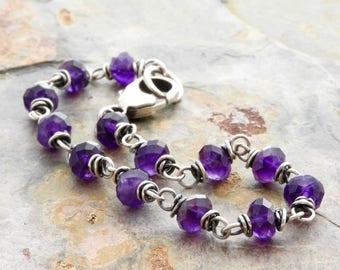 Purple Amethyst Birthstone Bracelet for Women - Birthstone Gift - Purple Gemstone Bracelet - Amethyst Bracelet - Sterling Silver #4905