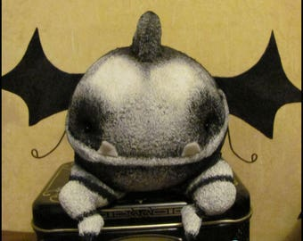 Whimsical Demon creepy cute doll Halloween horror gothic decor black white bat gargoyle cottage spooky Quirky Primitive
