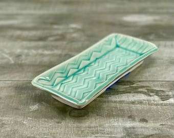Handmade butter dish. Aquamarine porcelain butter dish, turquoise kitchen accessory, ceramic butter dish, handmade, in chevron pattern.