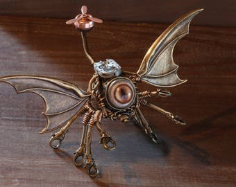 Steampunk cthulhu Sculpture with taxidermy glass eyes and antique watch movement