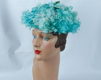 1960s Vintage Hat Teal Flowered Breton NWT Sz 21