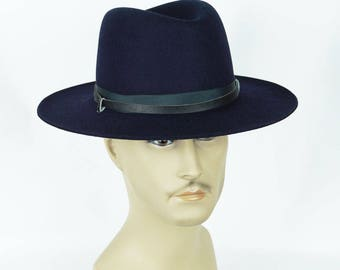 1980s Vintage DMV Hat Virginia State Trooper Navy Blue Hat with Strap Sz 7 1/8