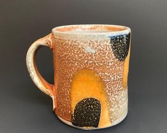Coffee Mug - Small Size - 9 fl oz - Soda Glazed Stoneware - Tokyo Pattern - Ron Philbeck Pottery - (SM5)