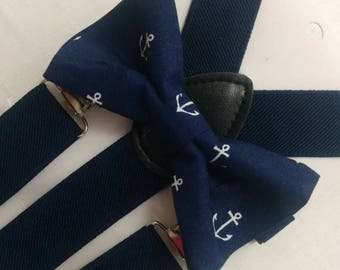 ON SALE ANCHOR Bowtie and Suspenders Set or Hanky, Boys,  Men, Big Tall, Navy Blue, slate,  white,  gold Groom, ringbearer, photo shoot, wed