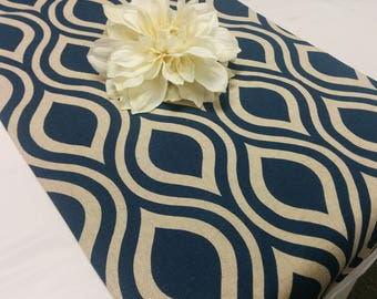 Navy Blue Geometric Table Runner   Navy Blue And Natural Linen, Large  Geometric Oval,