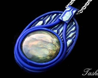 Labradorite Necklace, Natural Gemstone Pendant, Clay Jewelry, Blue