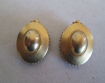 "1940's gold cameo clip on earrings measures 1 1/4"" x 7/8"""