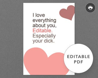"""Funny, Naughty Valentine, Love, Anniversary Card for Boyfriend, Husband, Him. Gay, LGBTQ. Printable, Digital. Sexy. """"Your Dick"""" (PCL002)"""