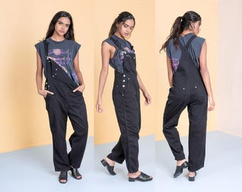 OVERALLS DKNY BLACK cotton vintage women 90s pants Loose slouchy / Medium