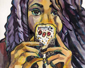 Yarn Braids Selfie Watercolor and Ink Painting - Art of a Selfie - Portrait of Woman with Phone - Original Art by Jen Tracy