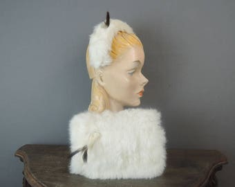 Little Girl's Vintage Fur Muff and Band Hat, 1960s White Rabbit Fur