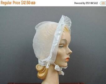 20% Sale - Vintage Child's Organdy Bonnet,  Sheer White 1950s 1960s, Girl Baby Hat