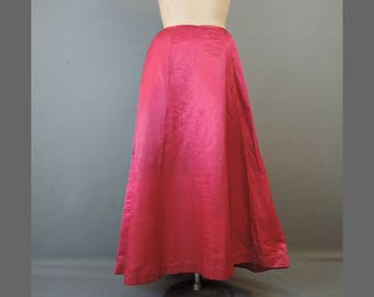 Victorian Satin Petticoat, As Is, 27 inch waist Dark Pink Satin Slip with Issues