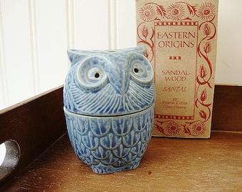 vintage blue owl incense holder burner pottery censor