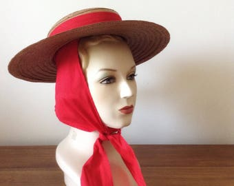 Straw Cartwheel Hat | 1940s