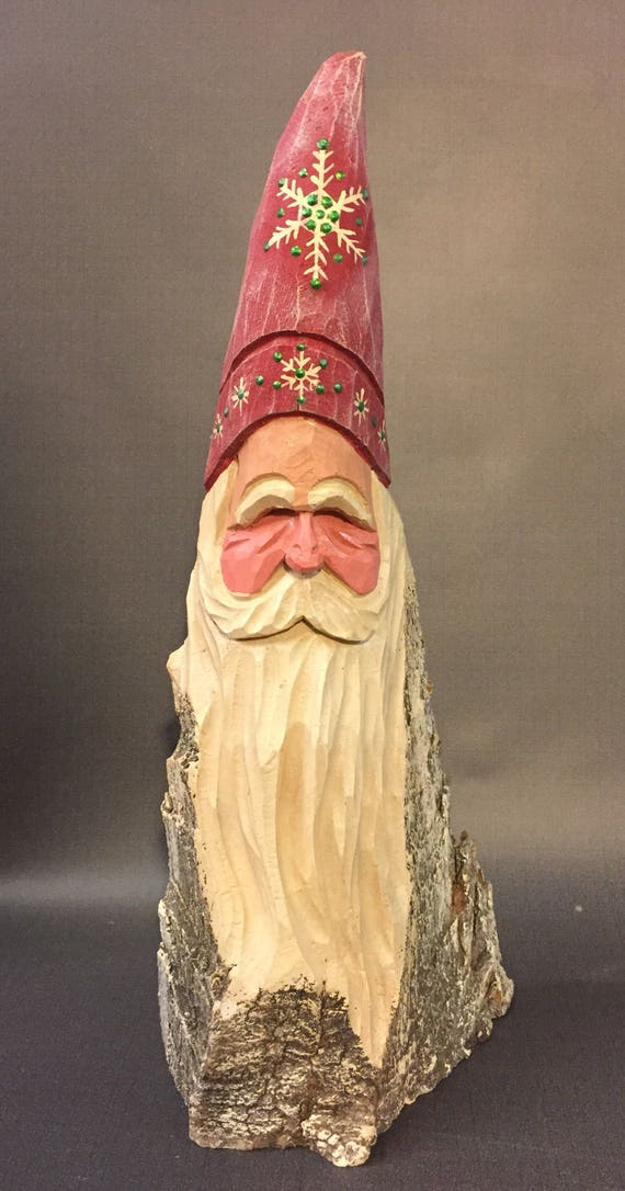 HAND CARVED original tall Santa bust from 100 year old Cottonwood Bark.