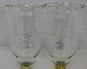 Set of 2 Vintage Clear Glass Tall Candle Holders - Peg Sconce Votive Cups - White Painted Flower Border