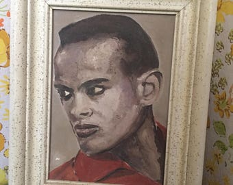 Vintage 60s Harry Belafonte acrylic framed painting