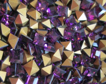 24pc 4mm Square Amethyst Rhinestones 4mm Amethyst Squares Vintage Swarovski 4mm Squares Machine Cut Squares Amethyst 4mm Squares