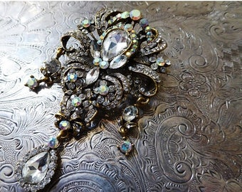 CLEARANCE SALE Belle Époque White Rhinestone & Gold Wedding Bridal Brooch Fashion Pin With Aurora Borealis Gems, Great Gatsby Inspired Style