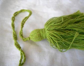 Set of 2 VINTAGE Long Loop Green Cotton Tassels