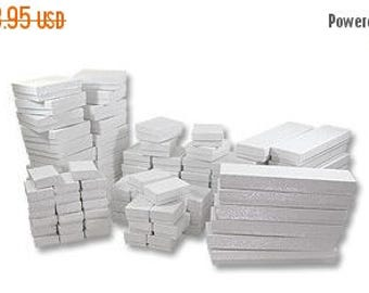 STOREWIDE SALE 50 Box Assortment White Cotton Filled Jewelry Presentation Boxes