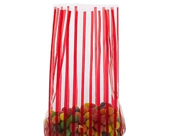 New Years Sale 20 Pack Red Stripe Clear View Poly Bags 3.5 X 2 X 7.5 Inch Size