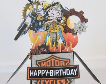 Box Card - Card in a Box - Biker Birthday Pop up card - Betty Boop - Motorcycle