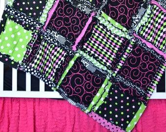 Hot Pink Rag Quilt Crib Set - Black / Green / Hot Pink Modern Baby Bedding- Pink Quilt Nursery Decor - Baby Crib Bedding Set Girl Bedroom