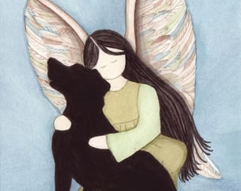 Black lab (Labrador Retriever) with angel / Lynch signed folk art print
