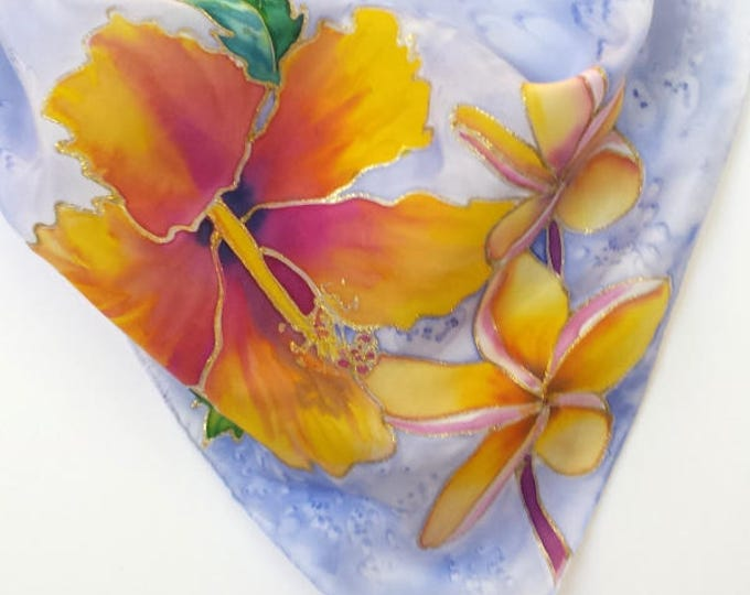 Hand Painted Original Silk Scarf  - Hibiscus Plumeria - Kauai Hawaii Hawaiian - Square Silk Scarf - Silk Scarves - Birthday Gifts for Her