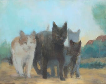 alley cats painting fine art print, cat art print, cat lovers gift, cat wall art, contemporary art, figurative painting by Michelle Farro