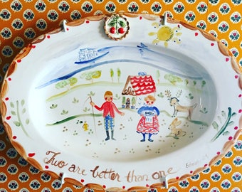 Ceramic Oval Platter with 3D Cherry Embellishment, Handpainted Platter, Food Safe